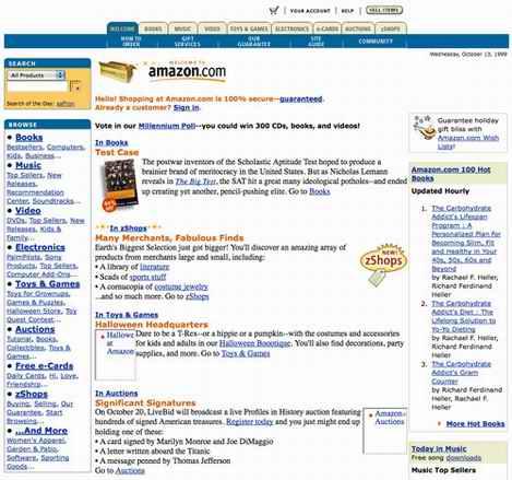 los Web site amazon10 mueven hacia atrás en 1998