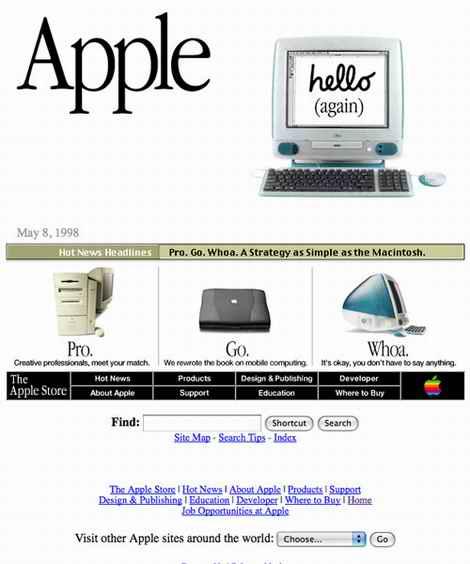 los Web site apple10 mueven hacia atrás en 1998