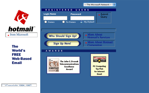 los viejos Web site del hotmail mueven hacia atrás en 1998