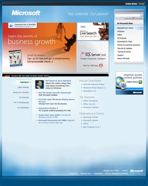 los Web site de Microsoft ahora mueven hacia atrás en 1998