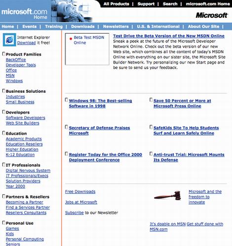 los viejos Web site de Microsoft mueven hacia atrás en 1998