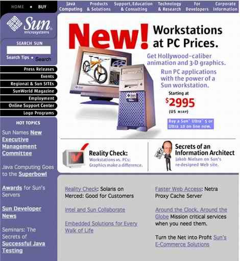 los Web site de sun10years mueven hacia atrás en 1998