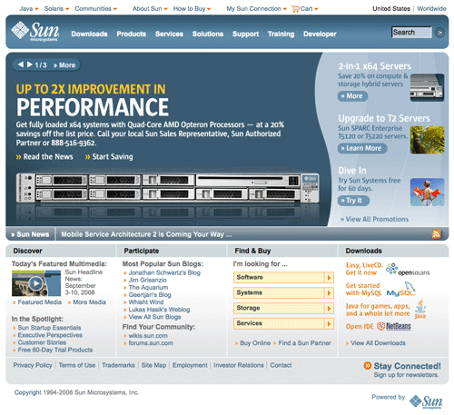 los Web site sunpresent mueven hacia atrás en 1998