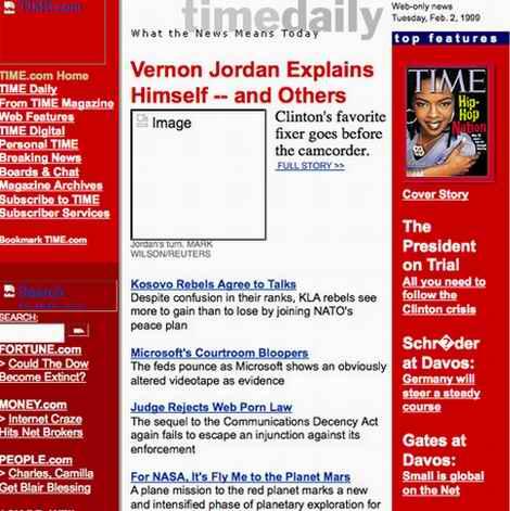 los Web site de time10years mueven hacia atrás en 1998