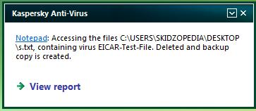 neutrallized eicar file kaspersky