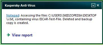 neutrallized eicar file kaspersky