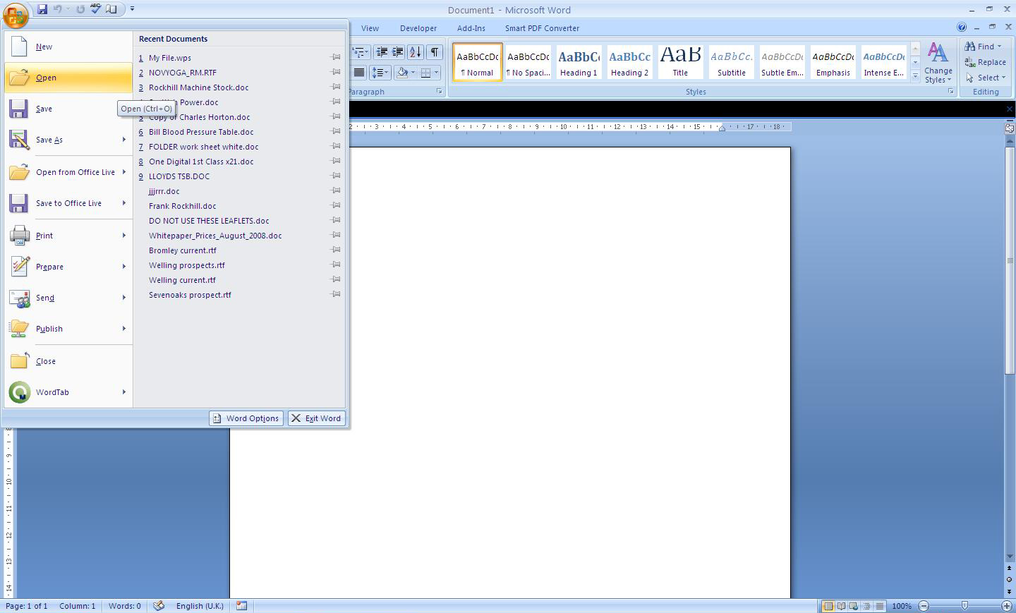 extension of ms word