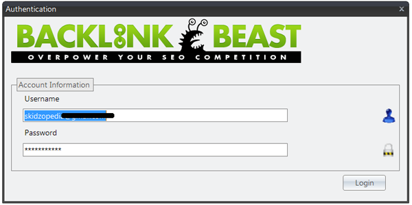 Account Authentication BackLink Beast