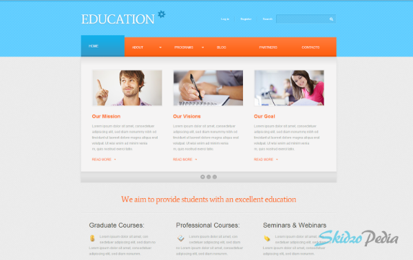 Cyan & White Education WordPress Template